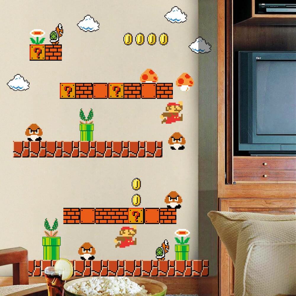 Giant Super Mario Wallpaper for Kids Boys Nursery Wall Art Room Decor
