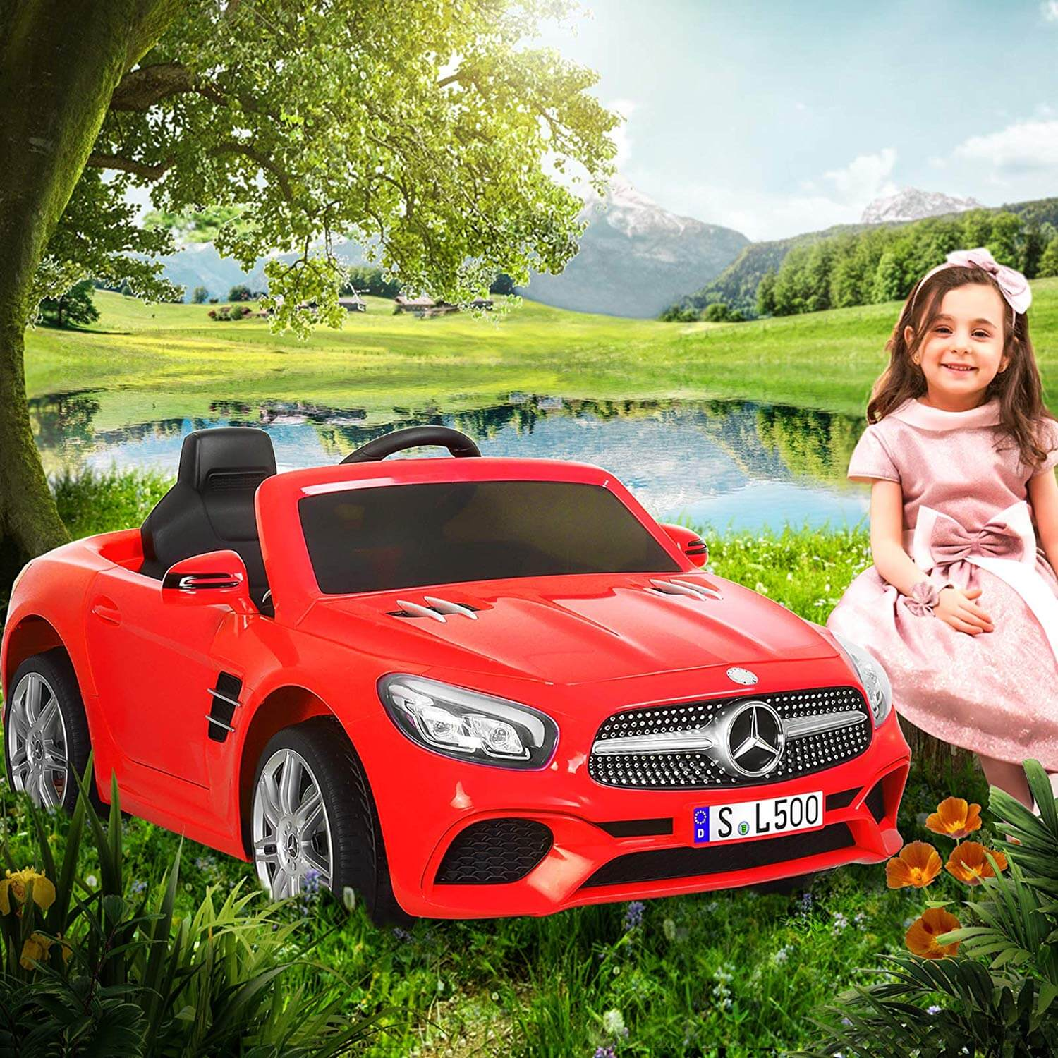 Kids Electric Cars Mercedes-Benz SL500 Children Ride-On Car with R/C Parental Remote