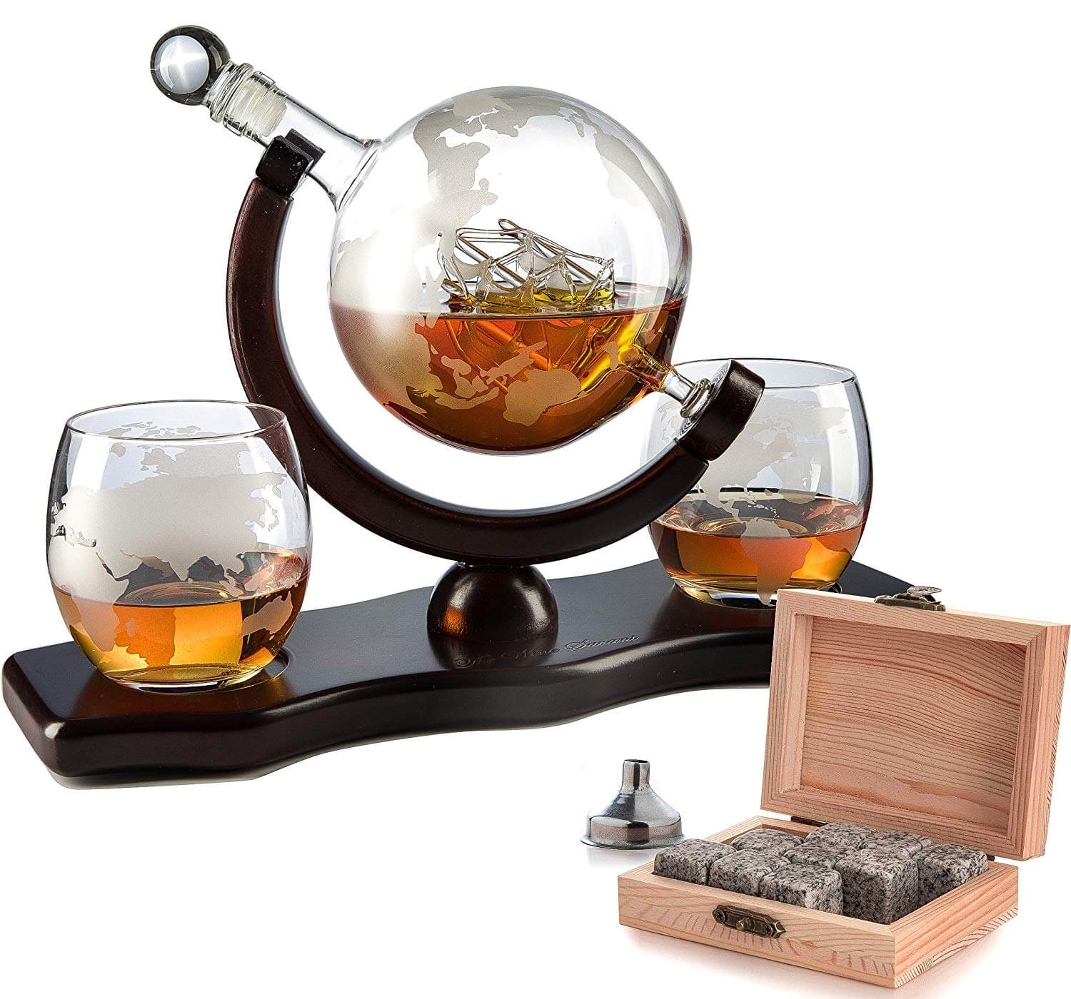 Wine Decanter With 2 Globe Glasses Includes Whiskey Stones