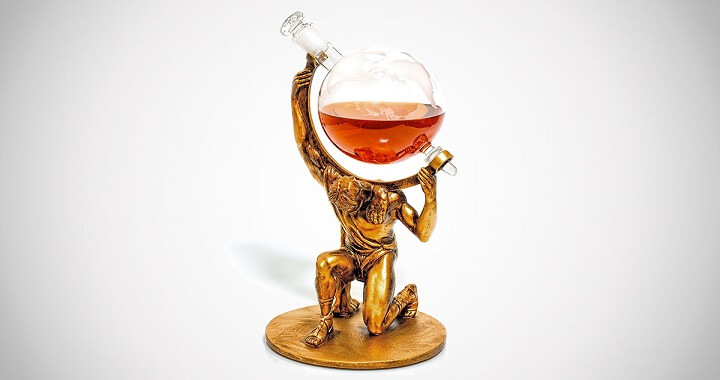 Atlas Etched Globe Whiskey Decanter