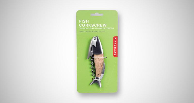 Kikkerland Lightwood Fish Corkscrew