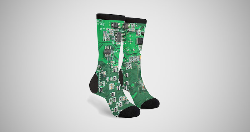 Green Computer Circuit Board Socks