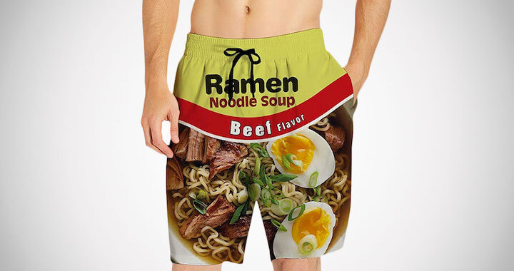 Mens Quick Dry Ramen Swim Trunks