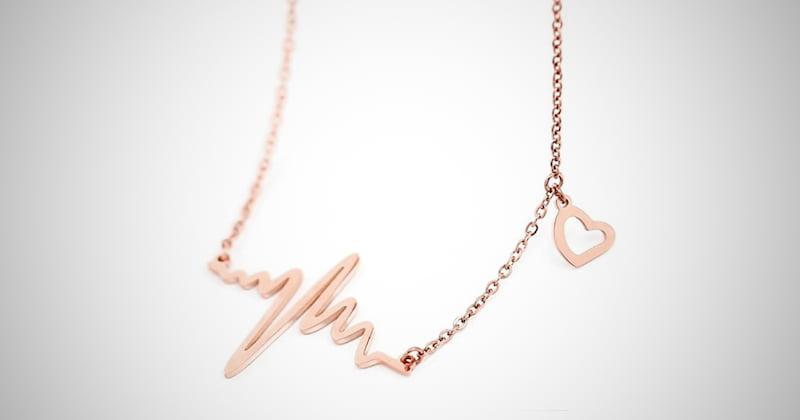 18k Rose Gold Heartbeat Necklace