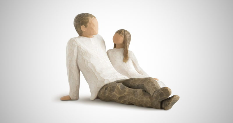Dad and Daughter sculpted figure