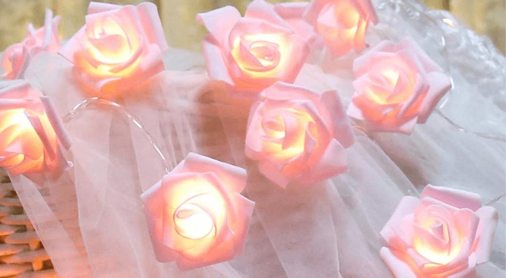 LED Pink Rose Flower