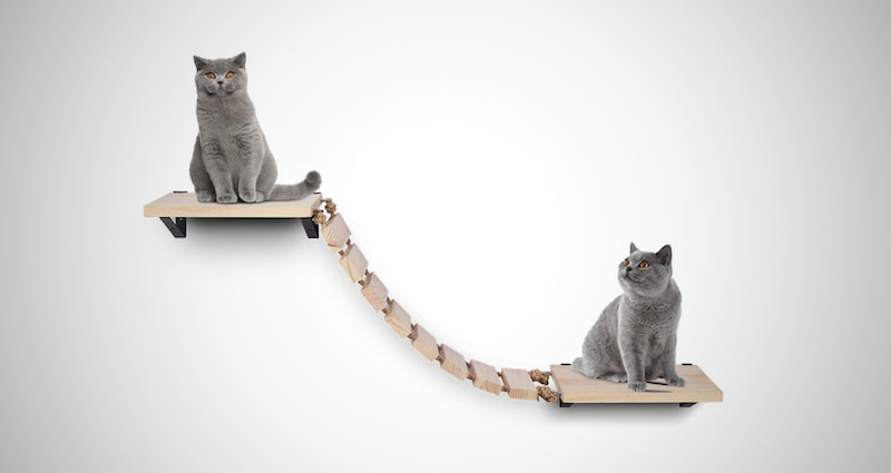 Wooden Cat Wall Steps