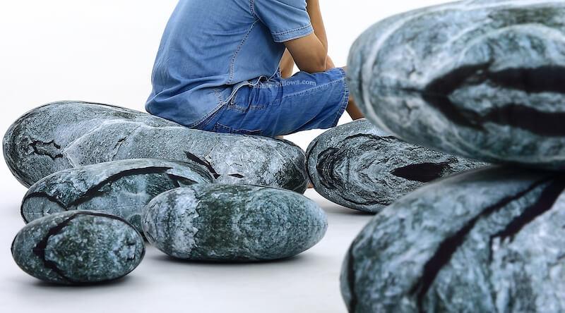 Three-Dimensional Stones Floor Pillows