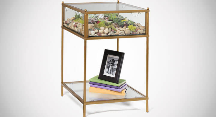D'Eco Square Terrarium Display End Table