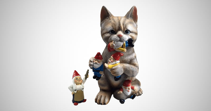 Cat Eating the Garden Gnomes Statue