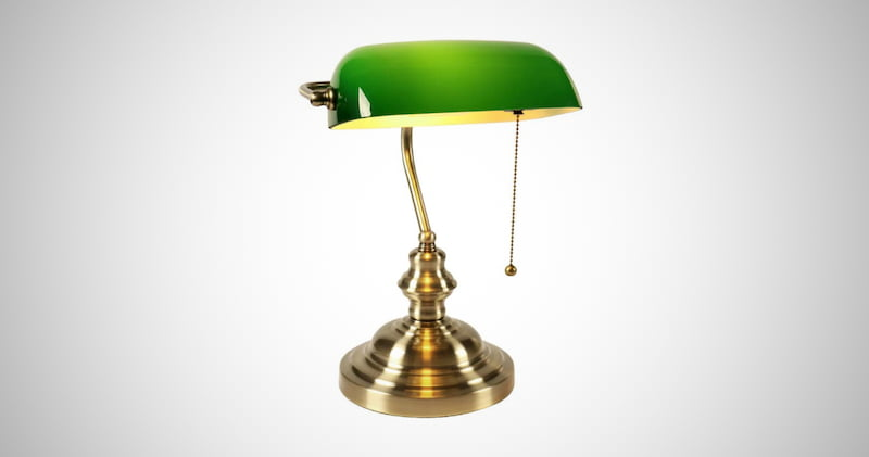 Retro Green Glass Desk Light