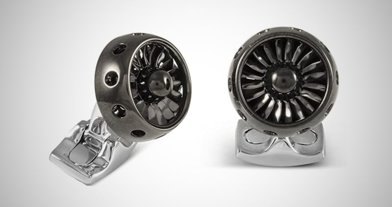 Jet Turbine Engine Cufflinks