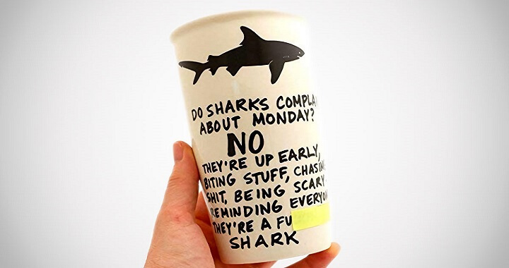 Mature Monday Shark Travel Mug