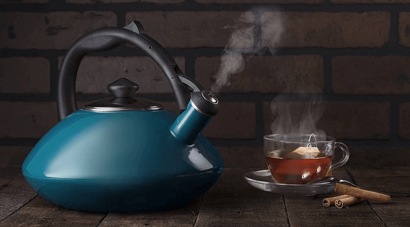 Enamel-Coated Whistling Tea Kettle