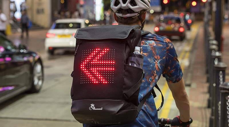 Automatic Directional Signaling Cycling Backpack