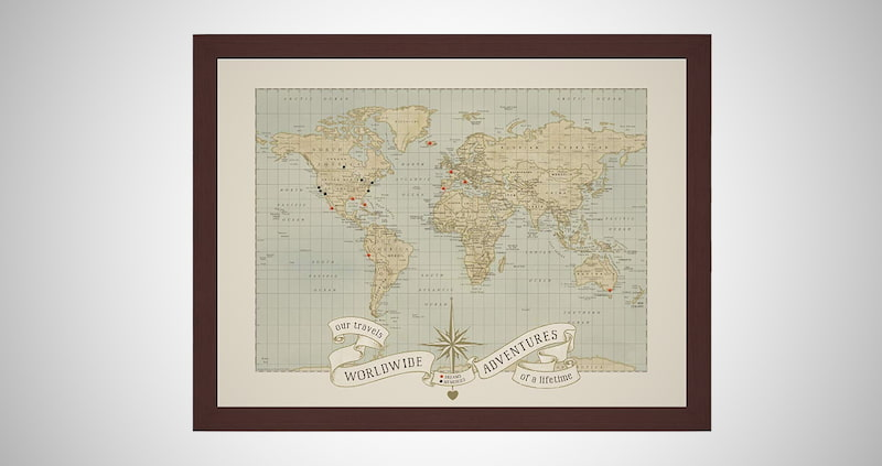 Custom World Push Pin Travel Map