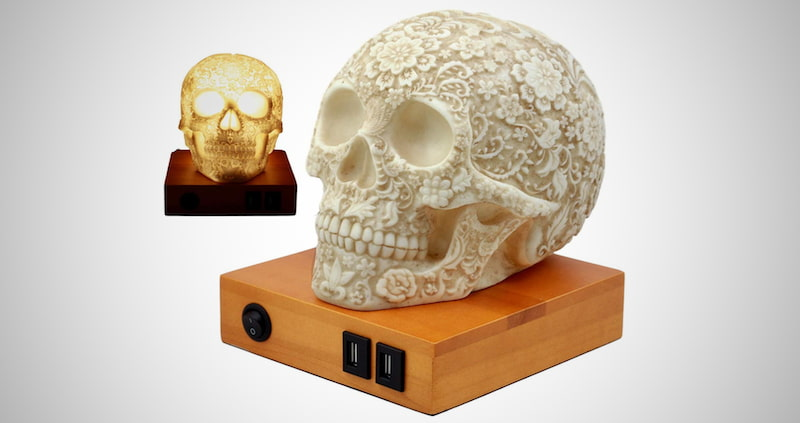 Day of The Dead Floral Skull Lamp