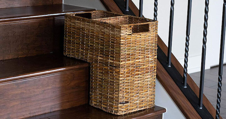 Wicker Woven Storage Bin for Stairs