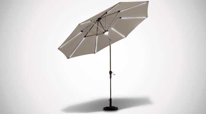 Solar Powered LED Lighted Patio Umbrella