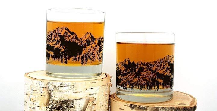 Mountain Range Whiskey Glasses