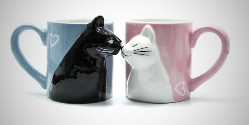 Kiss Cat Coffee Couple Mug Set