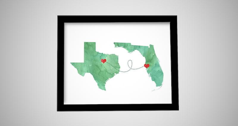 States Map Art Print Wall Decor