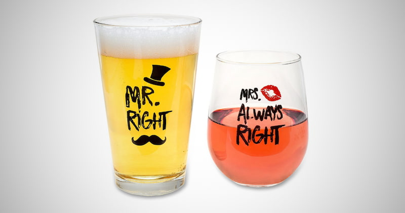 Mr. Right & Mrs. Always Right Glass