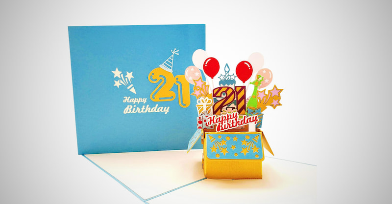 Happy 21st 3D Greeting Card