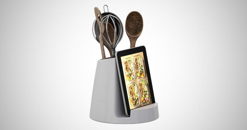 Ceramic Utensil Holder & Tablet Stand
