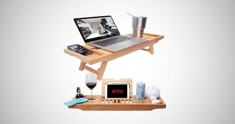 Bamboo Bathtub Tray & Bed Desk