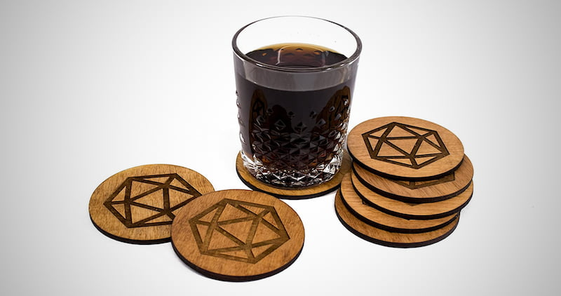 Stained D20 Coaster Set