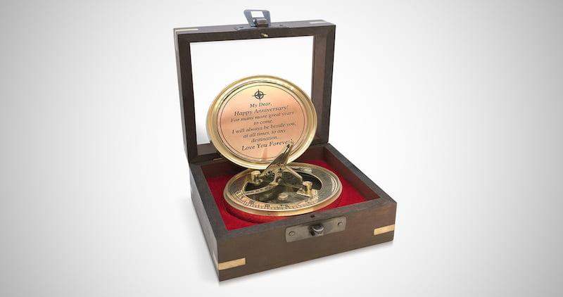 Anniversary Brass Sundial Compass
