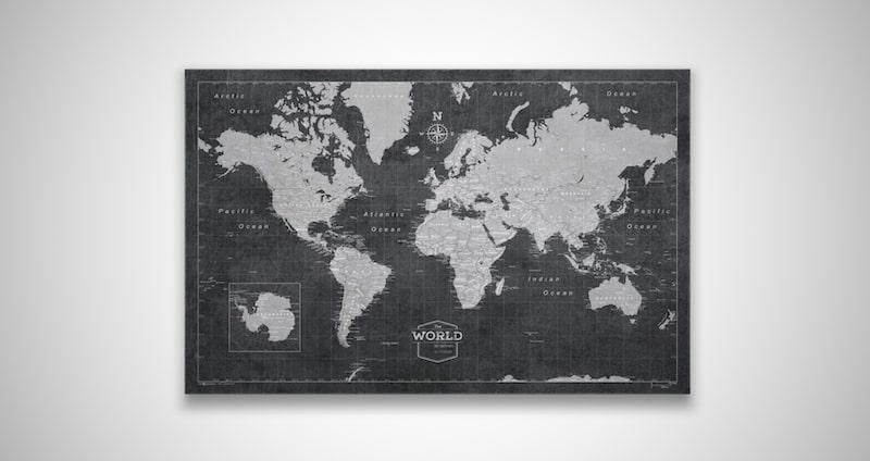 Push Pin World Map Board