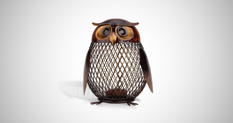 Owl Shaped Metal Coin Bank