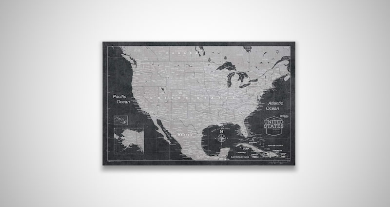 Push Pin USA Map Board