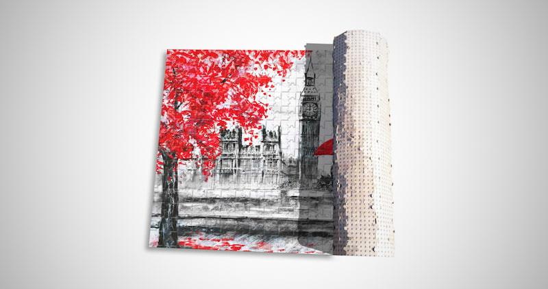 Red Umbrella Couple Puzzle
