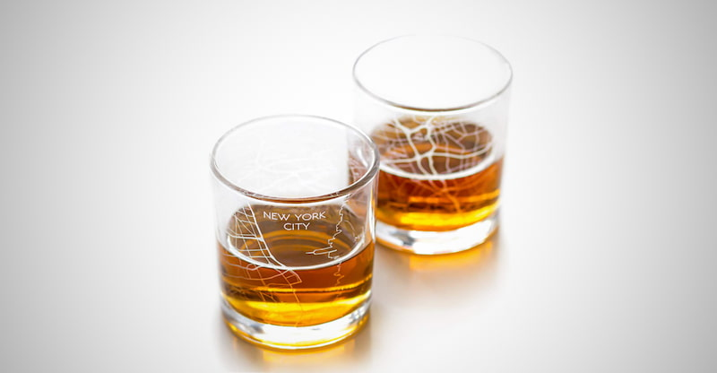 New York Etched Map Whiskey Glasses