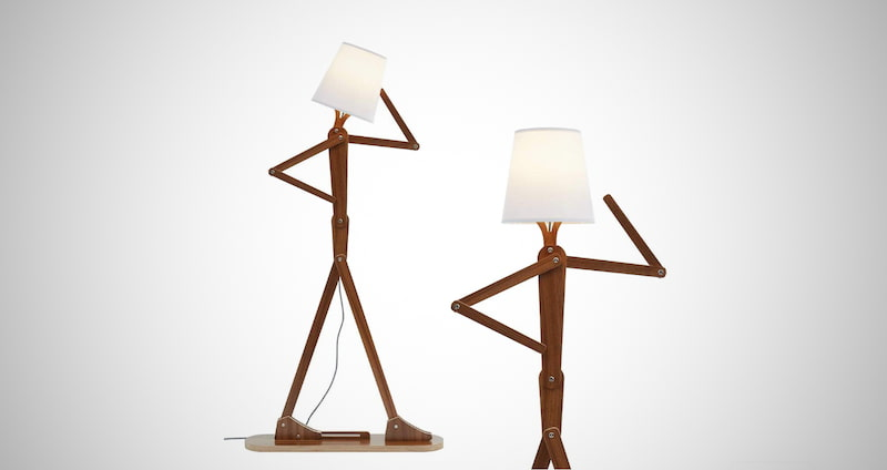 Standing Adjustable Wood Light