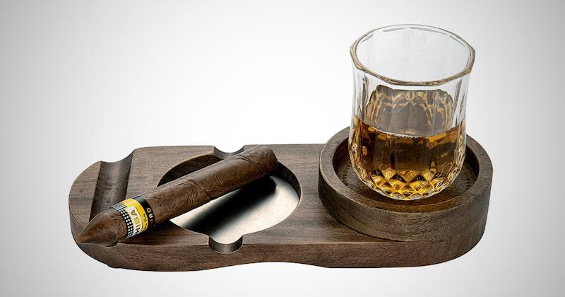Whiskey Glass & Cigar Holder