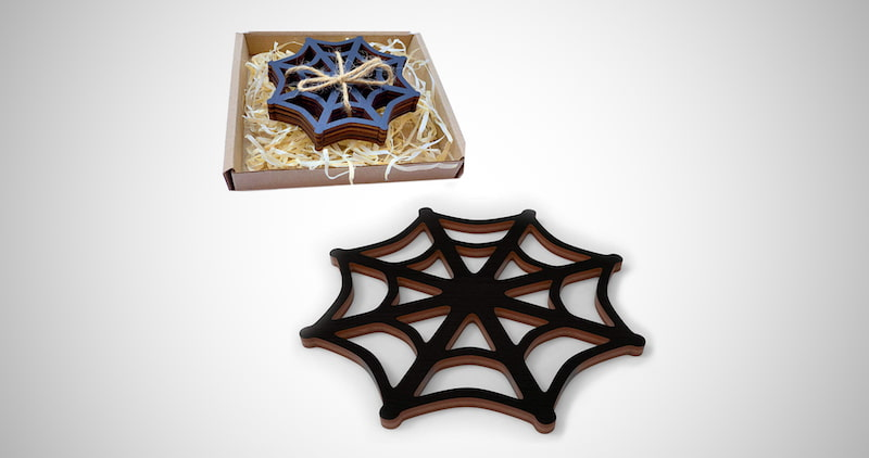 Black Spider Web Wooden Coasters