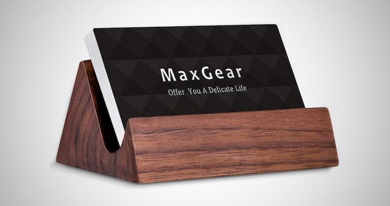 MaxGear Wood Business Card Holder