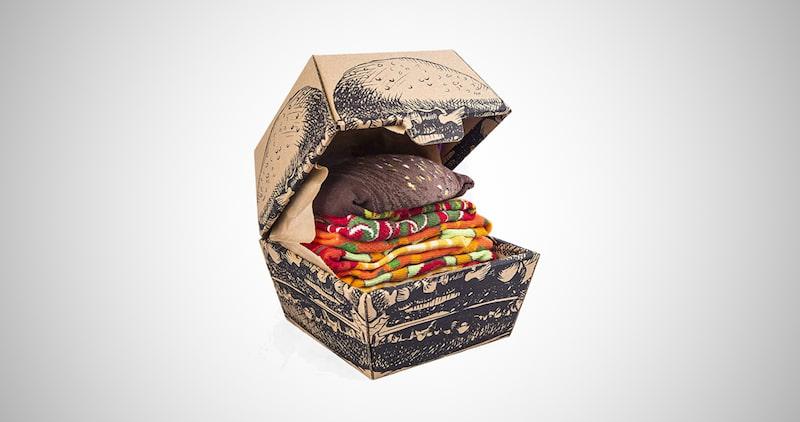 Funny Vegan Burger Socks Box