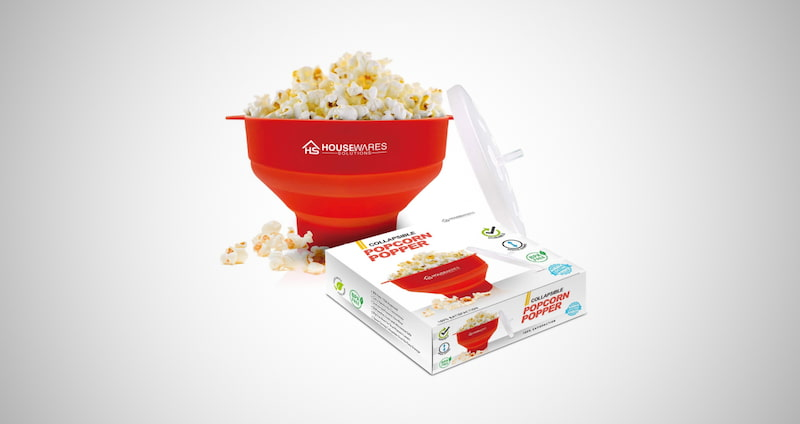 Collapsible Popcorn Popper Bowl