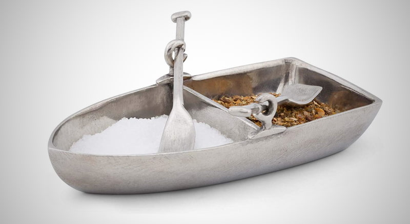 Pewter Row Boat Server