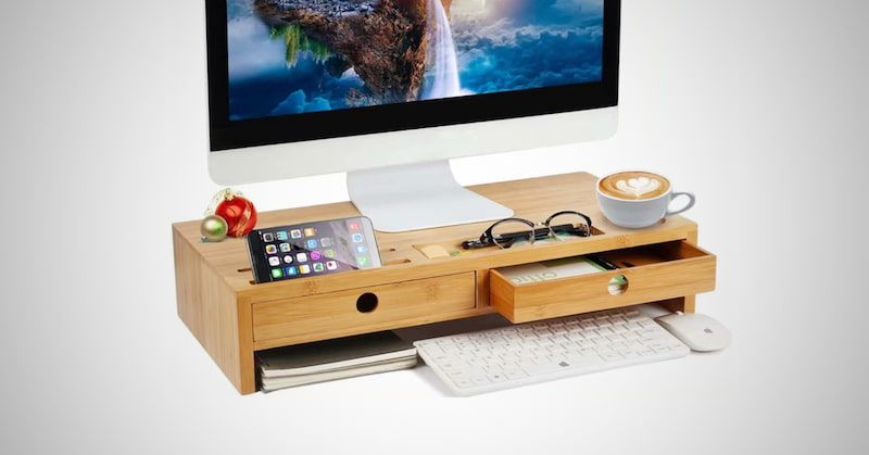 Monitor Stand Riser with Drawers