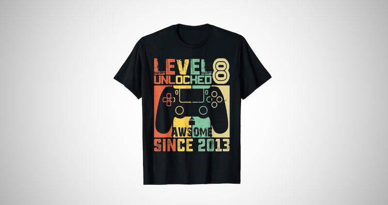 Level 8 Unlocked Video Gamer T-Shirt